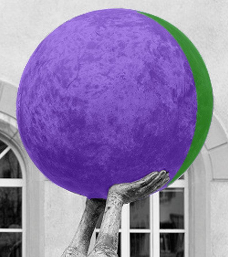 Due mani che sorreggono in alto una sfera, apparentemente senza sforzo. I colori, verde e viola, sono contrastanti ma funzionali, e riprendono sia il logo di Fed.Man, sia il fatto che la coadiuvandone di diversità può creare delle sinergie per trasformare le idee in soluzioni in ambito inclusivo